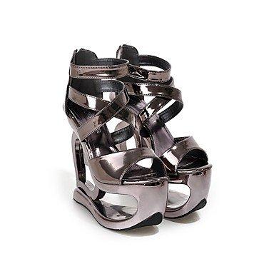 LvYuan Mujer-Tacón Cuña-Gladiador-Sandalias-Oficina y Trabajo Vestido Fiesta y Noche-PU-Plata Gris Oscuro dark grey