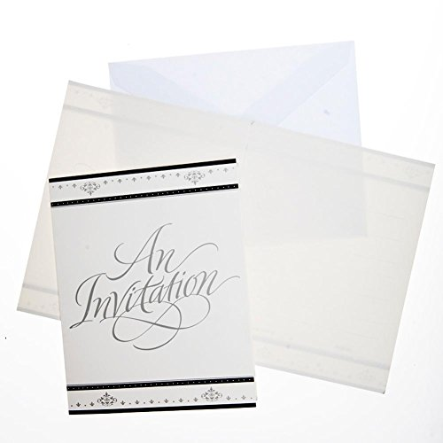 - Stafford Silver Invitations w/Envelops 25 Per Pack