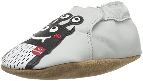 Robeez Boys' Soft Soles, Monster Mash Pale Grey, 12-18 Months M US Infant (Leather Boys Soft)