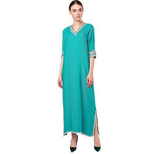 Arabo Islamico Caftano Jalabiya Lungo Dai Dubai Baya Vestito Abbigliamento Abaya Verdi Le Donne Ragazze Per Musulmani Lunga Del 2pcs Manicotto Abito Caftano Hvn7W5Uan