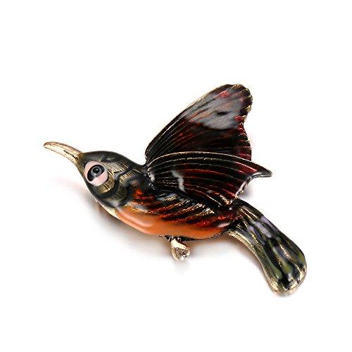 [eManco Vintage Gold Enamel Hummingbird Brooch Pin for Women Fashion Costume Jewelry with Gift Box] (Bird Costumes Women)