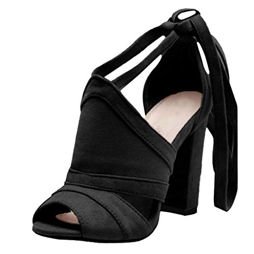 Pumps Shoes Women,Kansopa Block Heel Peep Toe Cross Lace-Up Sexy Suede Dress Pump Sandals Party Work Black