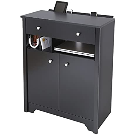 South Shore Tall Drawer Nightstand With Charging Station In Black Matte