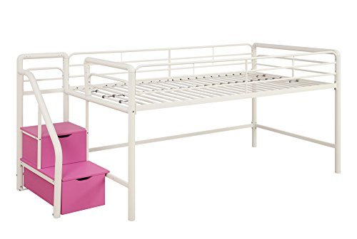 DHP Junior Twin Metal Loft Bed with Storage Steps, Space-Saving Solution, Multifunctional, White with Pink Steps (Place Twin Loft Bed)