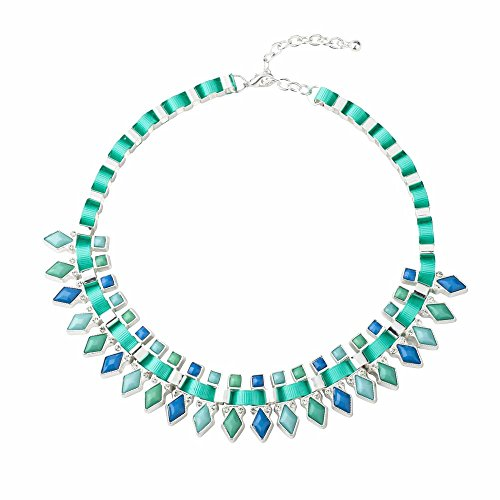 Qiji Women's Statement Handmade Chain Necklace Silver Plated Resin Choker Costume Necklace Jewelry (Green)