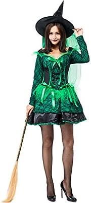 Disfraz De Halloween Mujer Adulta Cosplay Verde Bruja Elf Falda ...