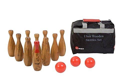 Uber Games Wooden Skittles- Premium Wooden Backyard Bowling Set - Hardwood by Uber Games
