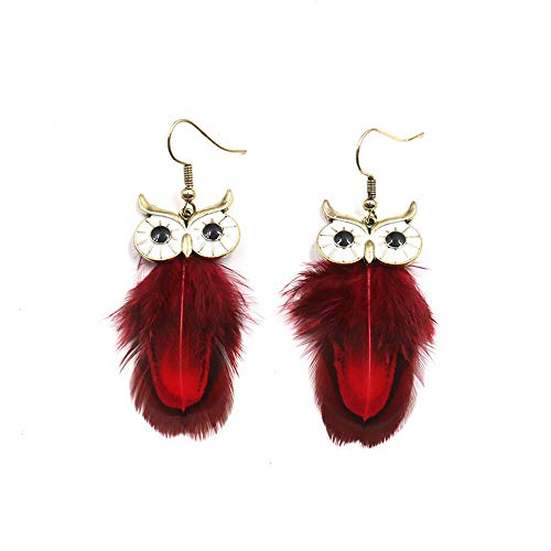 Lovastar Retro Owl Dangle Earrings for Women Pendants Long Feather Tassel Vintage Cute Animal Jewelry
