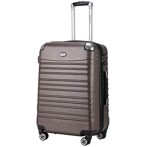 Travel Joy Expandable Luggage Carry on Suitcase TSA Lightweight Hardside Luggage Spinner Wheels Luggage (COFFEE-1,1 pc carryon (20