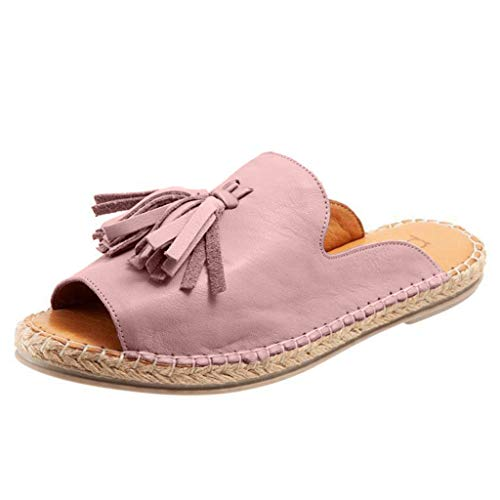 ◕‿◕ Watere◕‿◕ Women Flat Slip On Peep Toe Roman Slipper Shoes Sandals Shallow Mouth Casual Fringed Fish Mouth Slippers Pink