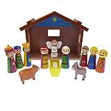 Children's Christmas Nativity scene set ornament wood shed Jesus 12 pieces