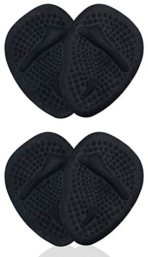 Metatarsal Pads | Metatarsal Pads for Women | Ball of Foot Cushions (2 Pairs Foot Pads) All Day Pain Relief and Comfort One Size Fits Shoe Inserts for Women (Black)
