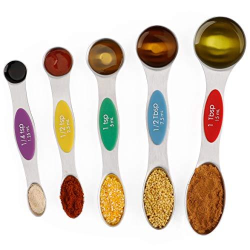 Measuring Spoons Magnetic Stainless Steel Metal Teaspoon and Tablespoon Measurement Spoon Set of 5 for Dry and Liquid Ingredients (Measure Ladle)