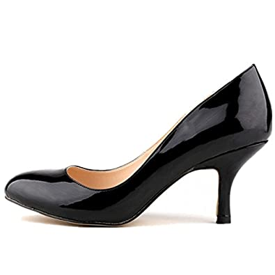 a5ee5c0762dab Amazon.com | SAMSAY Women's Kitten Heels Round Toe Dress Pumps ...