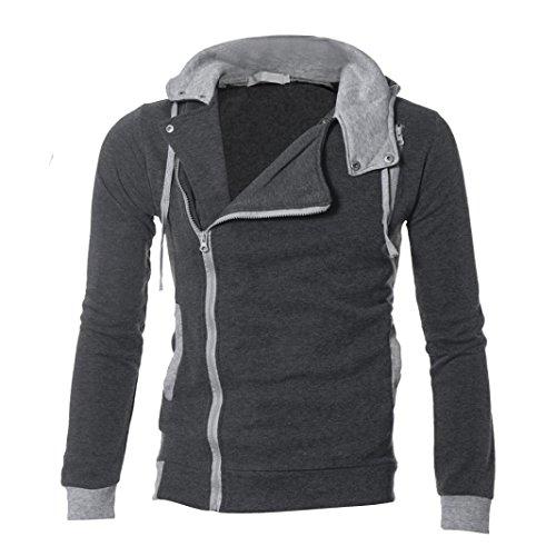 Studded Eyelet (Men's Sweatshirt Among Warm Zip Up Hooded Hoodies Jacket Tops Outwear Slim Fit Cotton Coats (2XL, Dark Gray))