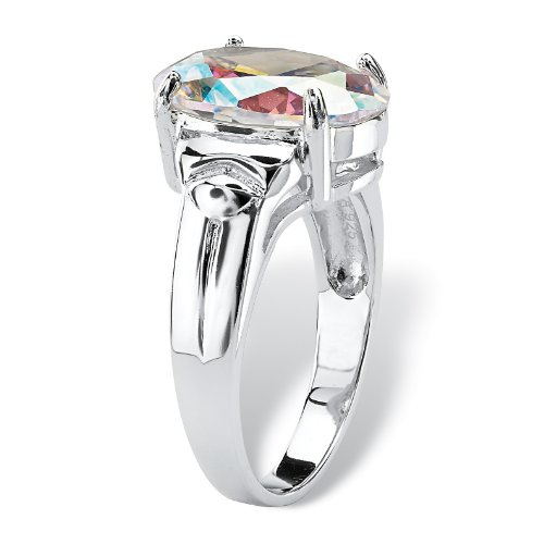 Oval Cut Aurora Borealis Cubic Zirconia Rhodium Plated .925 Sterling Silver Ring