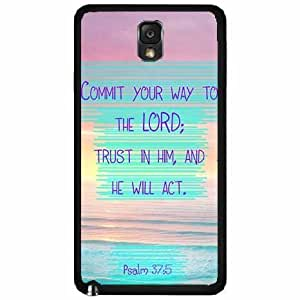 Psalms 37:5 Bible Verse Bible Verse TPU RUBBER SILICONE Phone Case Back Cover Samsung Galaxy Note III 3 N9002