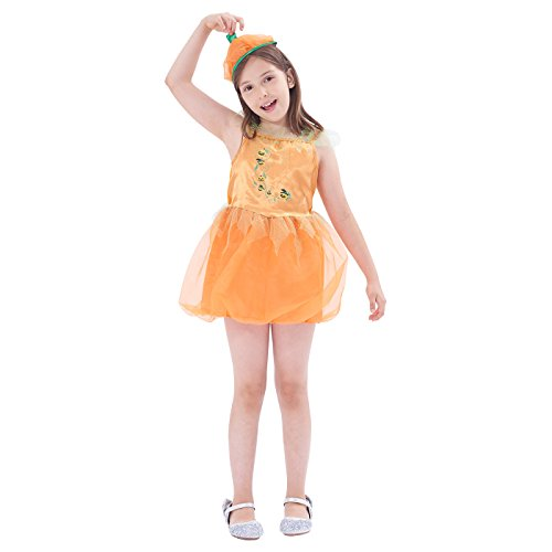 Autumn Fairy Costume Toddler (Twinkle Pumpkin Fairy Princess, Girls Halloween Costume, Masquerade Party Suits Role Play & Dress Up, 3Pcs (silk top, cap))