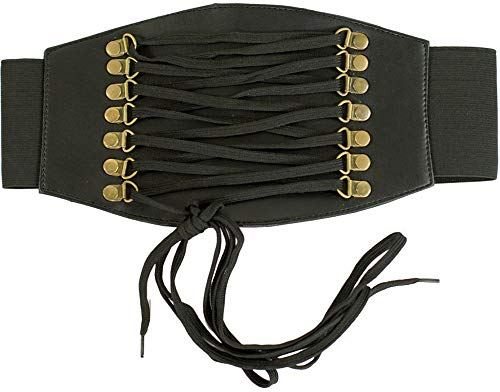 Orchard Corset Faux Black Leather Corset Belt CB-915-Short-M -