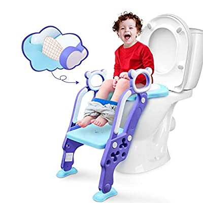 GrowthPic Toddler Toilet Seat, Toilet Training Step Stool, Potty Ladder, Navy Blue