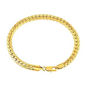 Golden Bracelet Stainless Steel Cuban Link Chain Bracelets Gold Color Fashion Jewelry For Men