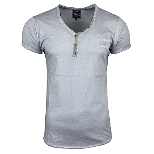 T-Shirt Herren Applikation Indigo Anthrazit Kurzarm Print Motiv A16845 Avroni, Größe:L, Farbe:Grau