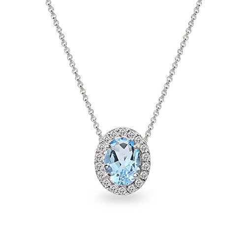 (Sterling Silver Blue Topaz Oval Halo Slide Pendant Necklace with CZ Accents)