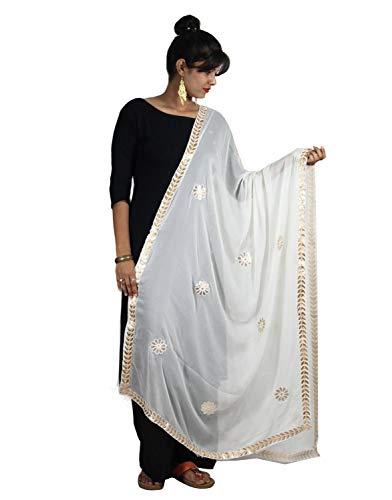 (Women's Dupatta with Gotta Patti Work White Chiffon Fabric Hijab Chunni Wrap Stole For Her)