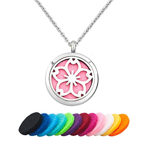 LoEnMe Jewelry Aromatherapy Essential Oil Diffuser Necklace Plum Blossom Flower Locket Pendant Gift for Women (What Plum Color Are Blossoms)