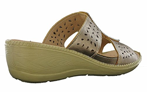 Walk on Toe Annie 8 3 Cushion Bronze Womens Slip UK Lightweight Sandals Open dEX6T86qw