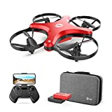 Holy Stone FPV Foldable Drone with Camera for Kids and Beginners, RC Quadcopter with 720P HD, 2 Flight Modes, APP Control, 3D Flip, Altitude Hold, Headless Mode, 2 Modular Batteries, Carrying Case,Red