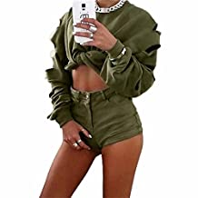 Women Pullover Sweatshirt,Napoo Personality Hollow Hole Long Sleeve Sweater Solid Short Shirt Blouse Tops (M, Army Green)