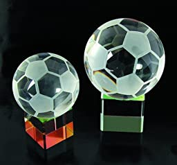 Soccer Ball Crystal Trophy Rainbow Base - Small
