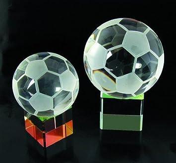 Trofeo de cristal de balón de fútbol, base arcoíris, tamaño ...