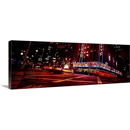 (GREATBIGCANVAS Gallery-Wrapped Canvas Entitled Low Angle View of Buildings lit up at Night, Radio City Music Hall, Rockefeller Center, Manhattan, New York City, New York State by 90
