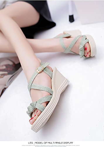 Shoze 歩きやすい 7cm ストラップ サンダル 靴 可愛い ウッド レディース ライトグリーン ソフトベージュ 女性