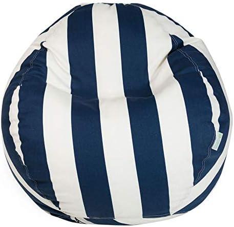 Majestic Home Goods Bean Bag, Navy Blue Vertical Strip, Small