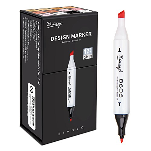 - Skin Tones Dual Art Marker Pens- Fine and Chisel Tips, Sketch Markers for Drawing, Shading, Outlining, Illustrating, Colorless Blender, 12-Count by Bianyo