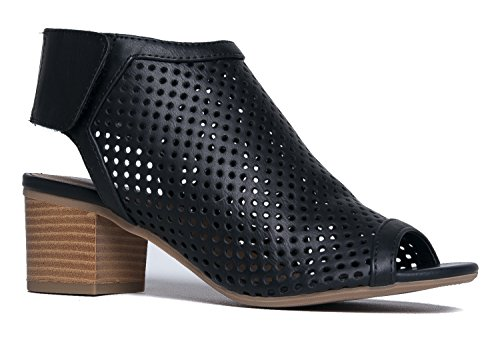 Cut Out Velcro Strap Bootie - Slip On Low Stacked Heel - Open Peep Toe Cutout Shoe Maddie by J Adams