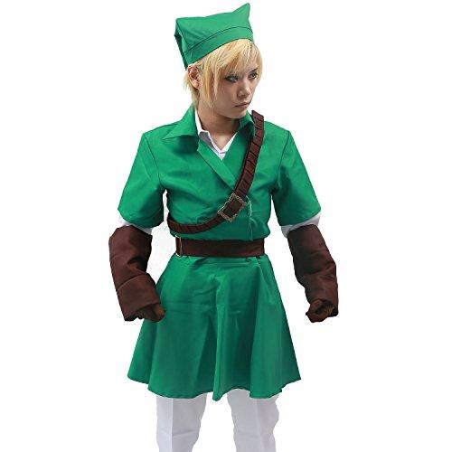Legend of Zelda Link Costume Green White Cosplay Belt Hat Custom Made
