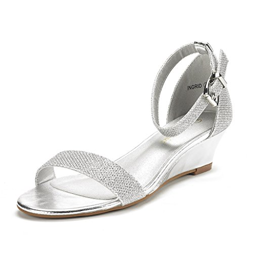 DREAM PAIRS Women's Ingrid Silver Plaid Ankle Strap Low Wedge Sandals Size 7.5 M US