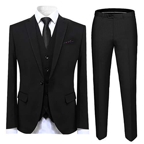 Cloudstyle Mens Suit Solid Color Formal Business One Button 3-Piece Suit Wedding Slim Fit Black