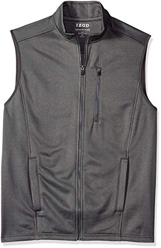 IZOD Men's Big and Tall Advantage Performance Spectator Fleece Vest, Asphalt, Large