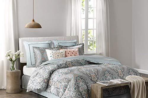 Echo Design Sterling King Size Bed Comforter Set - Teal Green, Damask – 4 Pieces Bedding Sets – Cotton Bedroom Comforters