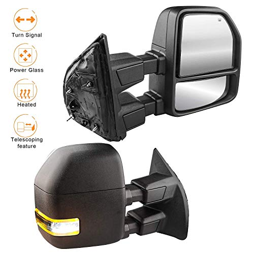 MOSTPLUS Power Heated Towing Mirrors for Ford F250 F350 F450 F550 Super Duty 2003 2004 2006 2007 w/Turn Signal,Clearance Light (Set of 2) (03 Excursion Tow Mirrors)