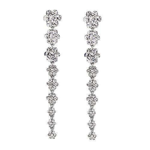 Pave Rhinestone Flower (FF Super Long Earrings for Wedding Flower Rhinestone Earrings)