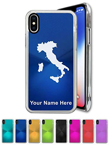 Case Compatible with iPhone X and iPhone Xs, Country Silhouette Italy, Personalized Engraving Included