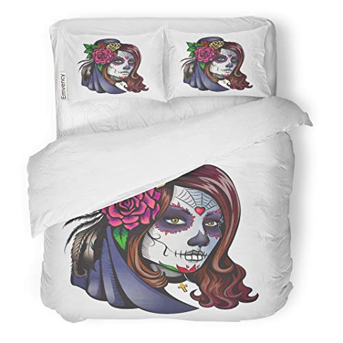 Tarolo Bedding Duvet Cover Set Halloween Day of Dead Make Up Girl Flowers in Hair Makeup Skull Calavera 3 Piece King 104