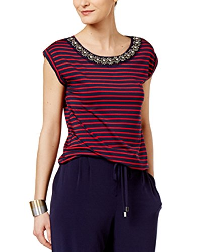(Cable & Gauge Cupio by Embellished Striped Blouse (NavyRed Stripe, M))