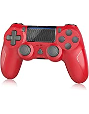 Wireless Controller for PS-4, YAEYA Gamepad Joystick Wireless Remote Pro Controller for PS-4/PRO/SLIM with Motion Motors and Built-in Audio Function, NOT-OEM (Red)